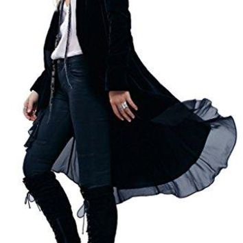 R.Vivimos Women Ruffled Asymmetric Long Velvet Blazers Coat