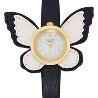 Women's kate spade new york butterfly leather strap watch, 20mm - Black/ White