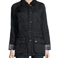 Diamond Quilt Jacket with Fleece Lining, Black, Size: