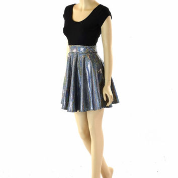 60cc4e4431d Silver Holographic Skater Dress with Black Zen Bodice   Cap Sleeves 152298