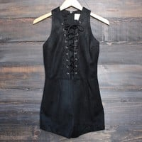 I suede it lace-up front romper in black