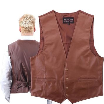 Vest Leather Waistcoat Men's Genuine Retro Classic Motorcycle The wind Environmental Protection  leather WOMen's Western Cowboy