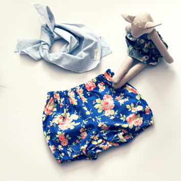 The Vintage Rose Bubble Shorts Girls Bloomers in Navy and Pink Floral