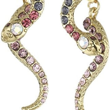 """Betsey Johnson """"Spring Ahead"""" Pave Snake Front and Back Earring Jacket"""