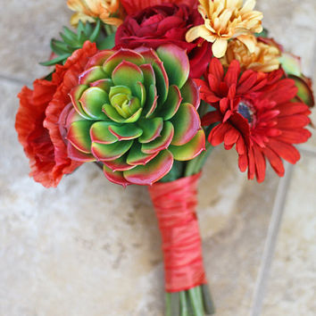 Succulents Wedding Bouquet - Red, Orange, Yellow Green Artificial Small Bridal Bouquet
