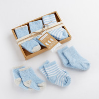 Cozy Toes 3 Pair Chenille Sock Set  Blue