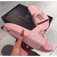 Versace Women Men Fashion Casual Logo Print Slipper Shoes Pink G