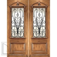 AN-2009-2 Mahogany Hand Carved French Art Nouveau Forged Iron Glass Double Door