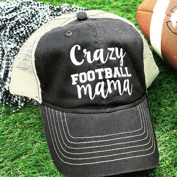 Crazy Football Mama Washed Trucker Cap