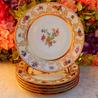 6 Vintage Guerin Limoges Porcelain Dinner Plates ~ Dresden Flower Pattern ~ Gold