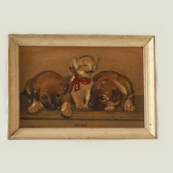 Raised Cat Print, Vintage Susie Smiling Relief Litho, Kitten & Puppy Dogs in Wood Frame, The History of Susie, Childrens Nursery Wall Art