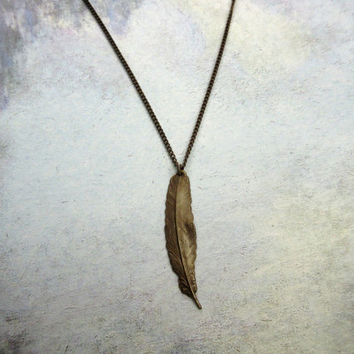 Feather Necklace, Authentic Natural Brass Necklace, Guy Necklace, Unisex Necklace, Brass Feather Pendant