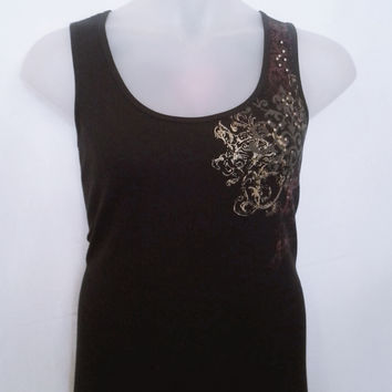 HJJB16035 Lena Stud Accented Tank with Metallic Graphic Size 14/16