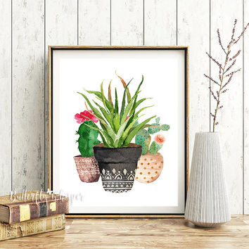 Succulent Printable, Flower Pot Print, Succulent Print, Watercolor Succulent, Botanical Print, Botanical Poster, Botanical Artwork, Tropical