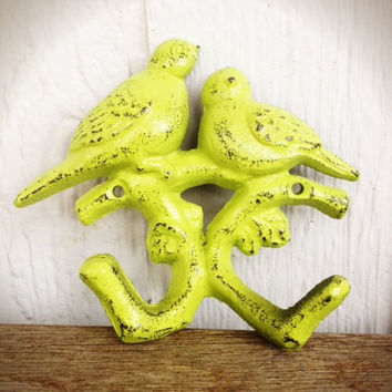 Hand Painted Love Birds Branch Wall Hook - Vintage Inspired Shabby Cottage Chic - Retro Lime Green
