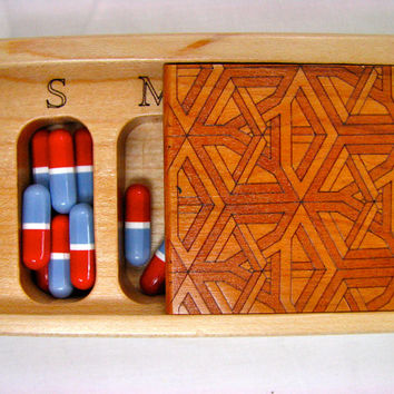 Wooden Box, Patterned Laser Engraved Box, Pill/Medication Box, Vitamin Organizer, Op Art,Pattern No. 1     -------
