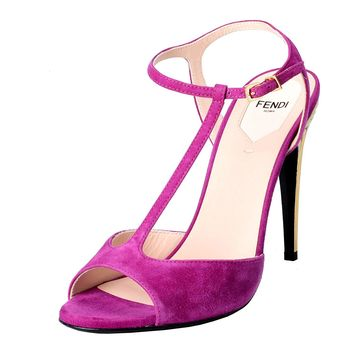 Fendi Women's Suede Fuchsia Open Toe T-Strap High Heels Sandals Shoes