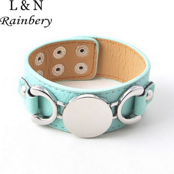 Rainbery Fashion Jewelry Silver Plated Monogram Leather Cuff Bracelet Pulseras 3 Row Multicolor Leather Bracelet For Women Men