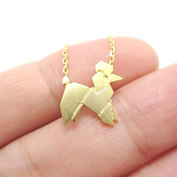 French Poodle Origami Shaped Pendant Necklace in Gold | Animal Jewelry