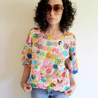Beautiful Unique 50s 60s Colorful Rainbow YoYo Quilt Blouse Shirt