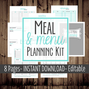Meal Planner, Weekly Menu Planner-Printable Meal Planning Kit-8 Sheets-Blue-INSTANT DOWNLOAD & EDITABLE