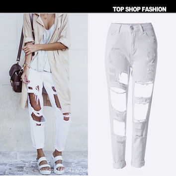 Style Boyfriend Women's Fashion White Ripped Holes Jeans Cropped Pants [6365921860]