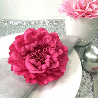 10 Pieces.Fuchsia Light Pink Large Peonies Flower Napkin Rings Set