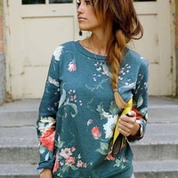 Green Flower Print Long Sleeve Sweatshirt