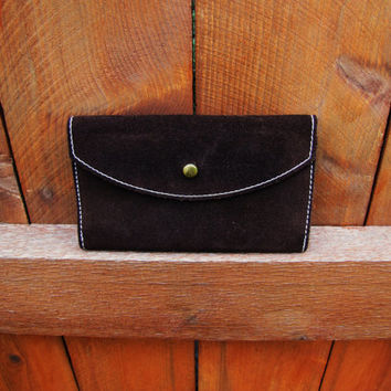 vintage chocolate brown suede wallet. hippie wallet. hippie leather wallet. hippie suede wallet. hipster wallet