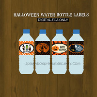Halloween Party Printable Water Bottle Labels - Halloween Birthday Printable Water Bottle Labels (works for Birthdays too)