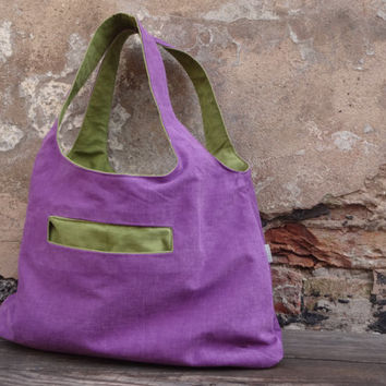 CanvasTote Bag, Reversible Violet/ Green Hobo  Bag , Tote Bag, Shopping Bag, Canvas Tote, Fabric Tote bag