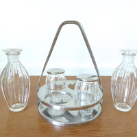 WMF Cromargan Germany stainless steel condiment caddy with cruets and salt and pepper shakers
