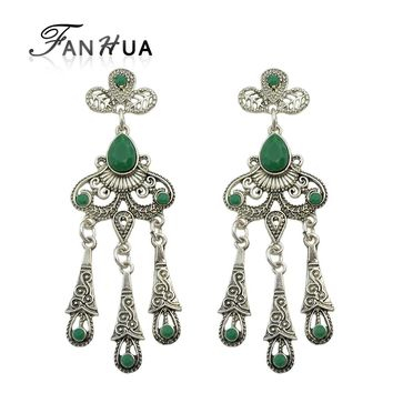 FANHUA Fashion Designer Jewelry Charming Green Orange Black Color Acrylic Chandelier Pattern Dangle Earrings For Women