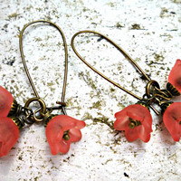 Red pink coral Bell Flower Earrings. Bronze and red Jewelry. Dangle Earrings