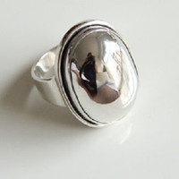 Sterling Silver Medium Oval Statement Minimalist Wide Band Ring,