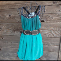 Hand Dyed Ombre Bubble Dress with Belt - Turquoise