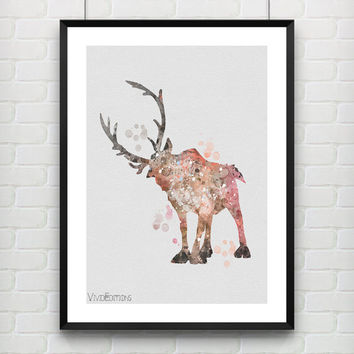 Sven Frozen Disney Poster, Reindeer Watercolor Print, Children's Room Wall Art, Minimalist Home Decor Not Framed, Buy 2 Get 1 Free! [No. 10]