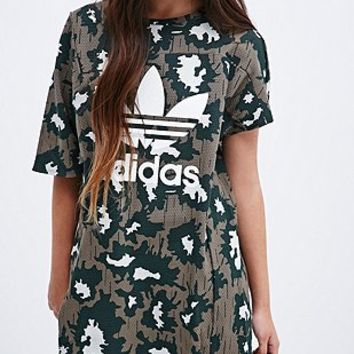 Adidas Trefoil Textured Dress in Camo - Urban Outfitters