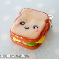 Kawaii sandwich polymer clay charm by LittleJulesCreations on Etsy