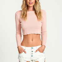 Pink Ribbed Knit Crop Top