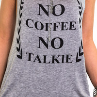 No Coffee No Talkie Heather Gray Graphic Tank