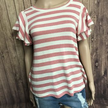 Knit Striped Short Sleeve Ruffle Top