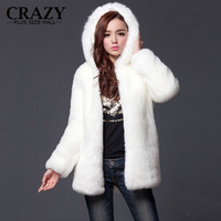 2016 New Plus Size XL XXL XXXL 4XL 5XL 6XL Winter Warm White Faux Fur Coats With a Hood Luxury Fake Fur Coats For Women