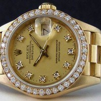 ROLEX 18kt gold ladies fashion champagne watches F