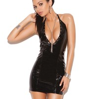 VINYL HALTER DRESS WITH STUDS