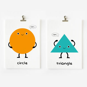 Children Decor Cute Geometric Shapes Flash Cards set of 18, Kids Wall Art, Children's Art