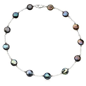 12-13mm Black FW Cultured Coin Pearl & Sterling Silver 18-In Necklace