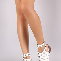 Qupid Studded Pointy Toe Mule Ankle Boots