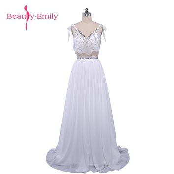 Beauty-Emily Two Pieces Beading White Chiffon A-line Wedding Dresses 2017 Floor-Length Court Train Party Bridal Dresses