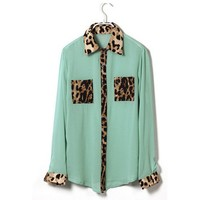 Leopard Print Green Long Sleeve Chiffon Blouse Shirt with 2 Pockets